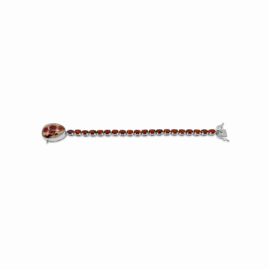 OAK-33546 Sterling Silver Bracelet with Citrine and 15.2 Carats of Mexican Fire Opal - Stephen Dweck Jewelry