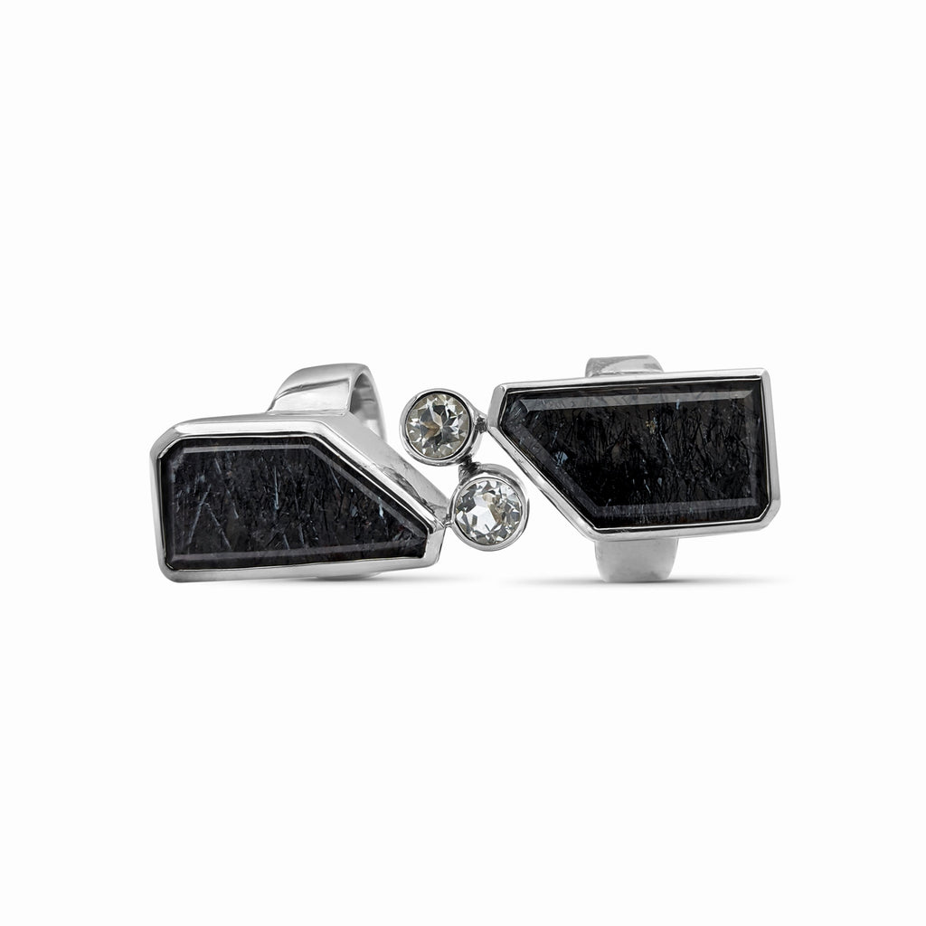 OAK-33618 Dendritic Quartz and Rock Crystal Sterling Silver Double Hinge Ring