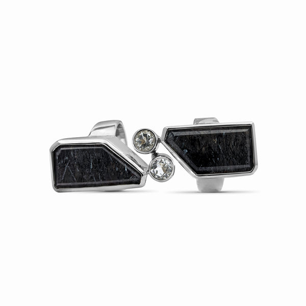 OAK-33618 Dendritic Quartz and Rock Crystal Sterling Silver Double Hinge Ring - Stephen Dweck Jewelry