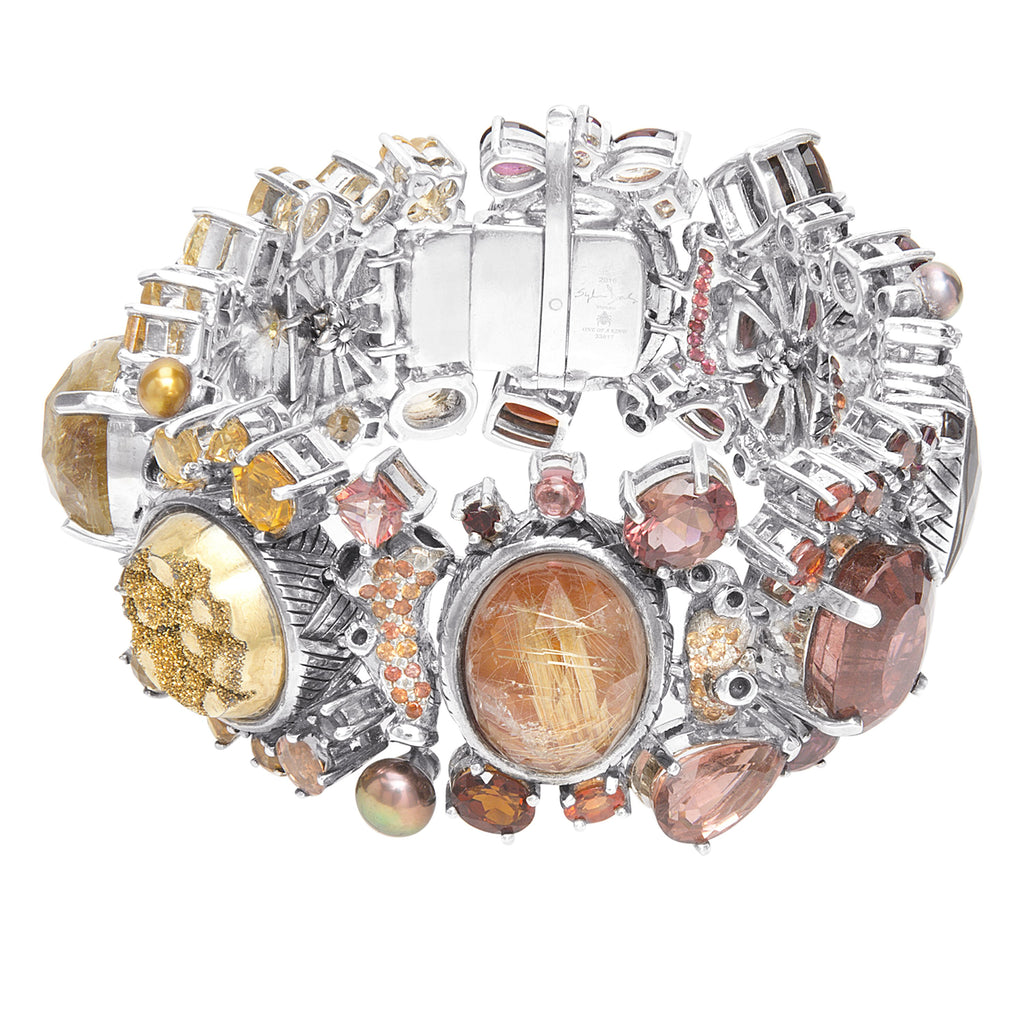 OAK-33817 Sterling Silver Bracelet Featuring Multi Gemstones of Garnet, Sapphires, Rutilated Quartz, Citrine, Druzy, and Colored Pearls