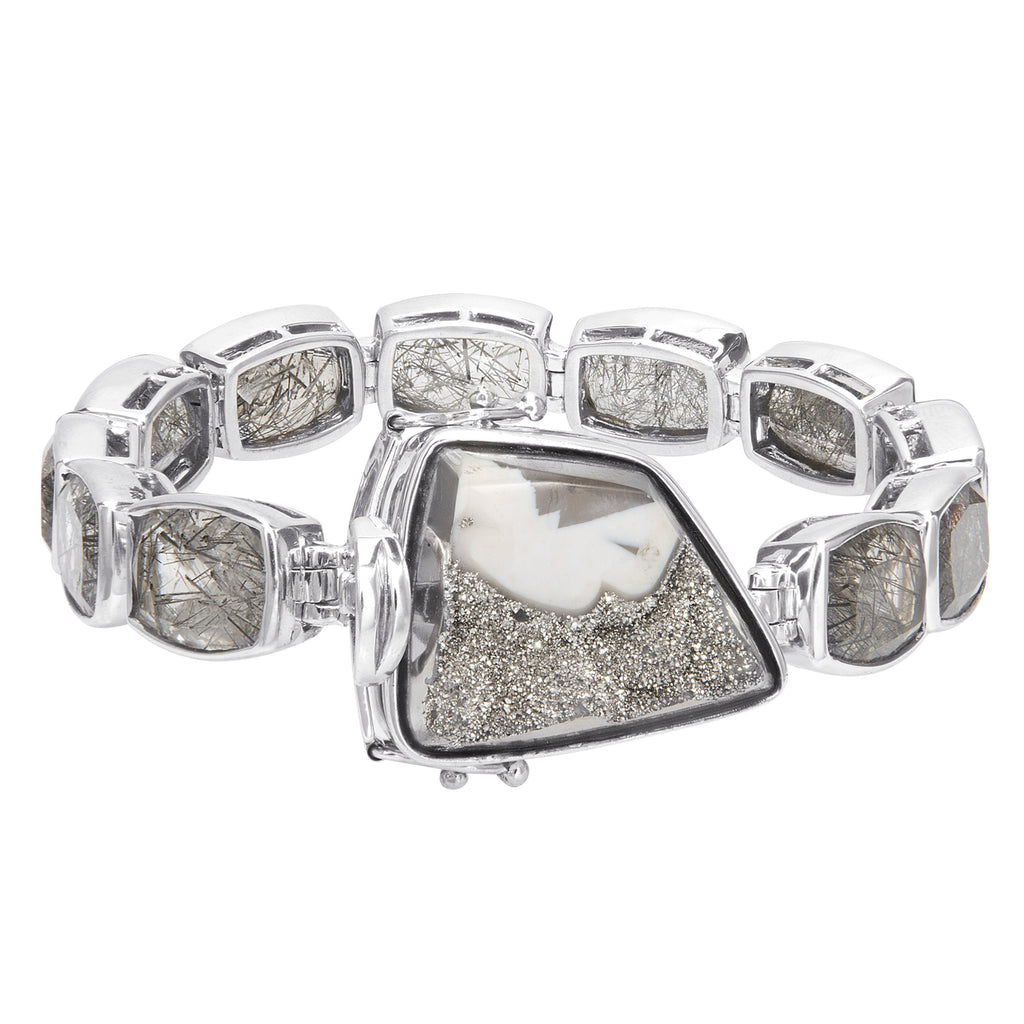 OAK-33902 Platinum Valley Druzy and Black Rutilated Quartz Sterling Silver Line Bracelet