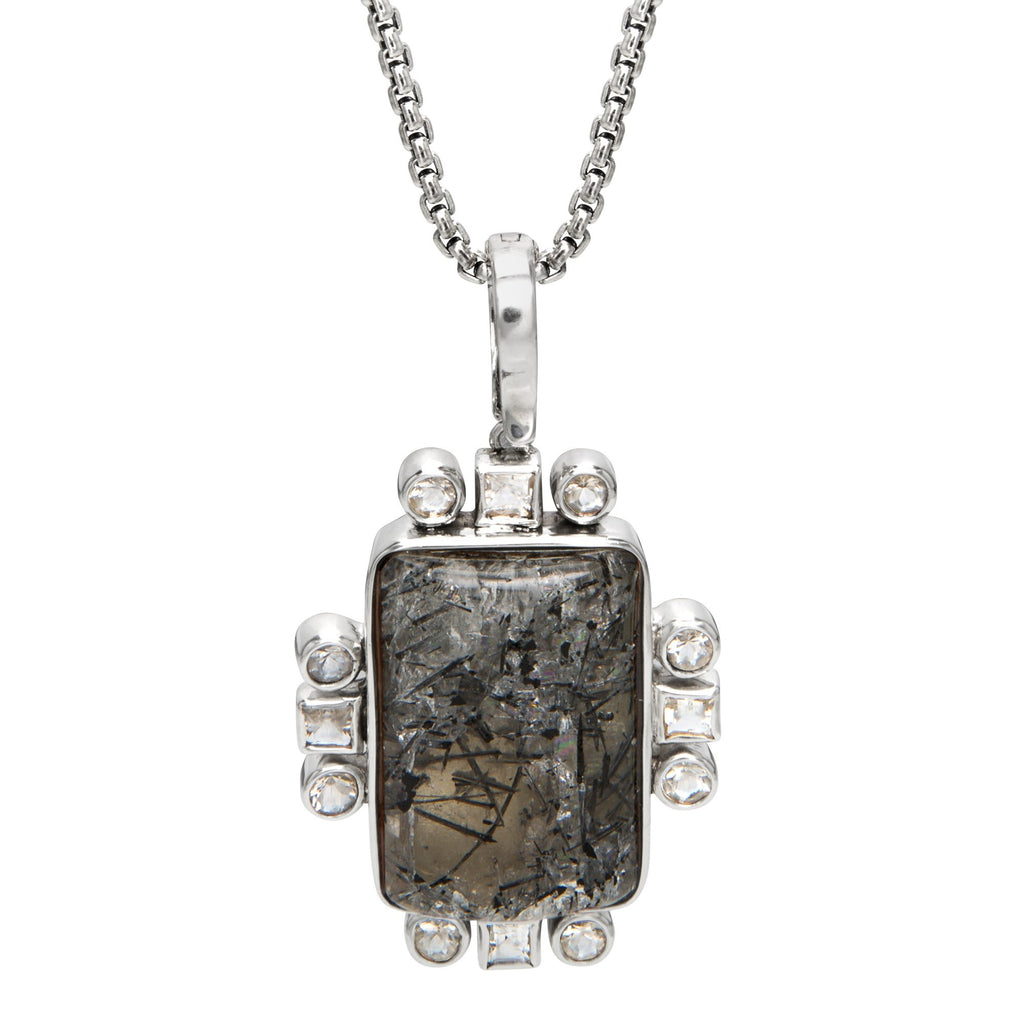 OAK-33970 RUTILATED QUARTZ AND CRYSTAL QUARTZ STERLING SILVER PENDANT WITH CHAIN