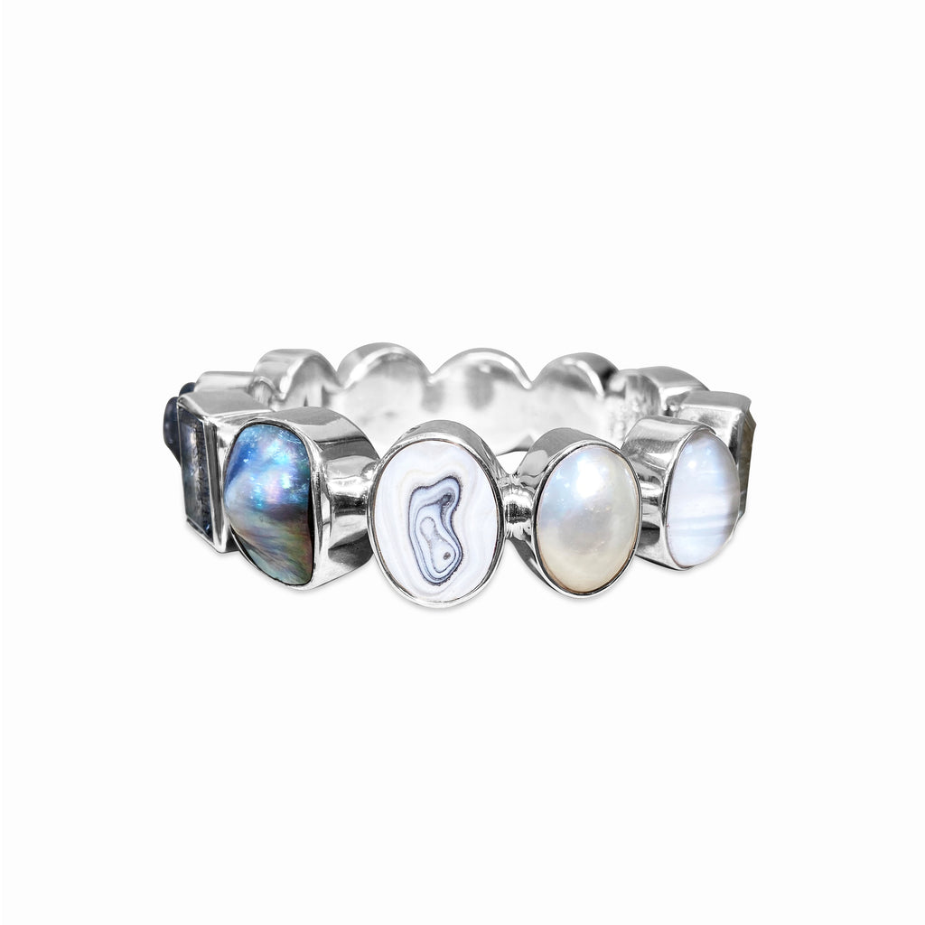 OAK-33990 Sterling Silver Collector Bangle with Crystal Quartz, Pearl, Agate, Shell, Grey Moonstone, Black Druzy, and Grey Agate