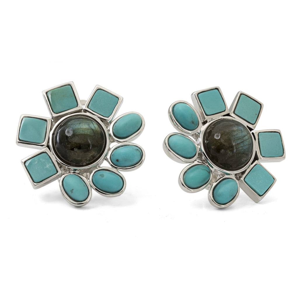 OAK-34254: Labradorite and Turquoise Flower Earrings