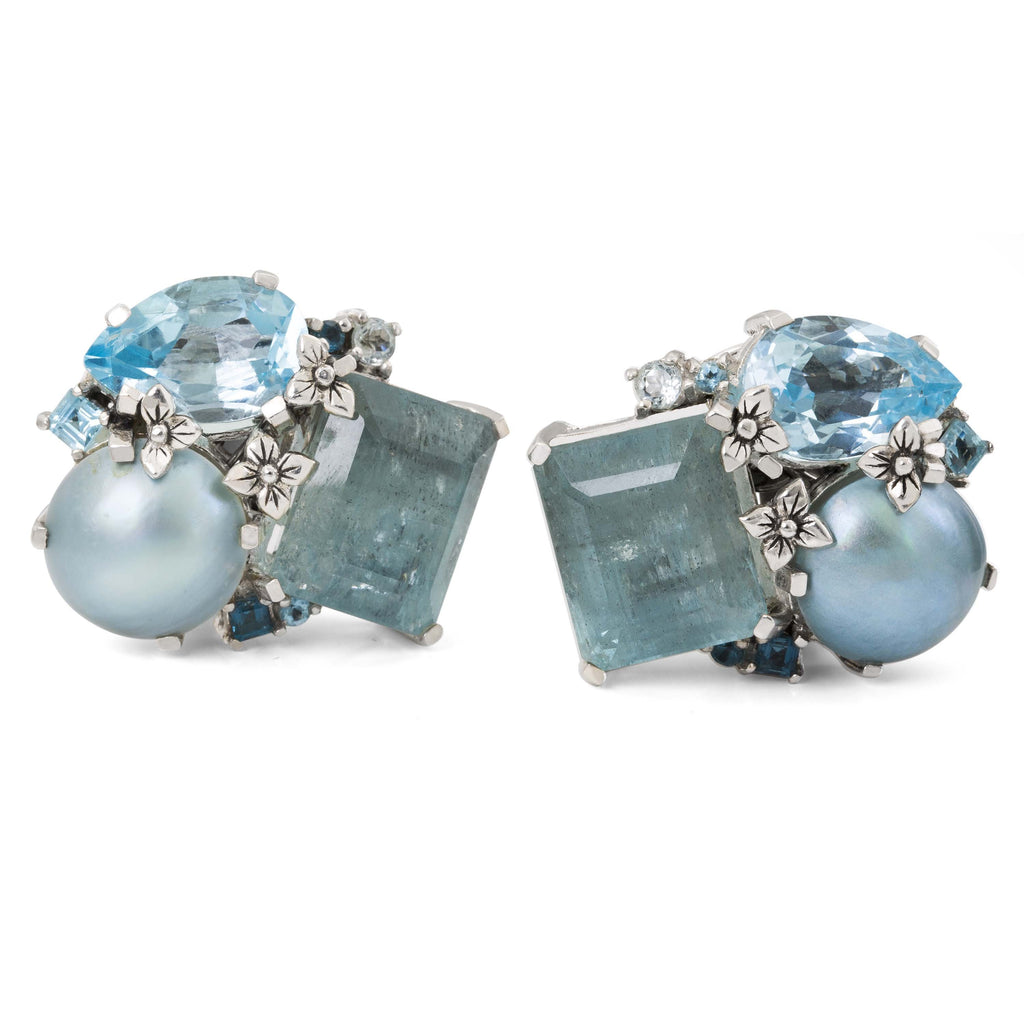 OAK-36093: Aquamarine, Green Pearl and Blue Topaz Cluster Earrings
