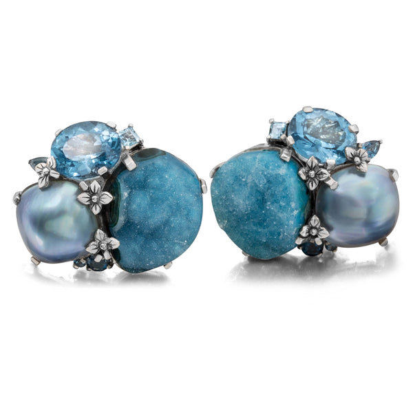OAK-36097: Chrysacolla Druzy, Blue Topaz, and Blue Pearl Earrings