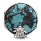 OAK-36167: Natural Turquoise Engraved Sterling Silver Ring