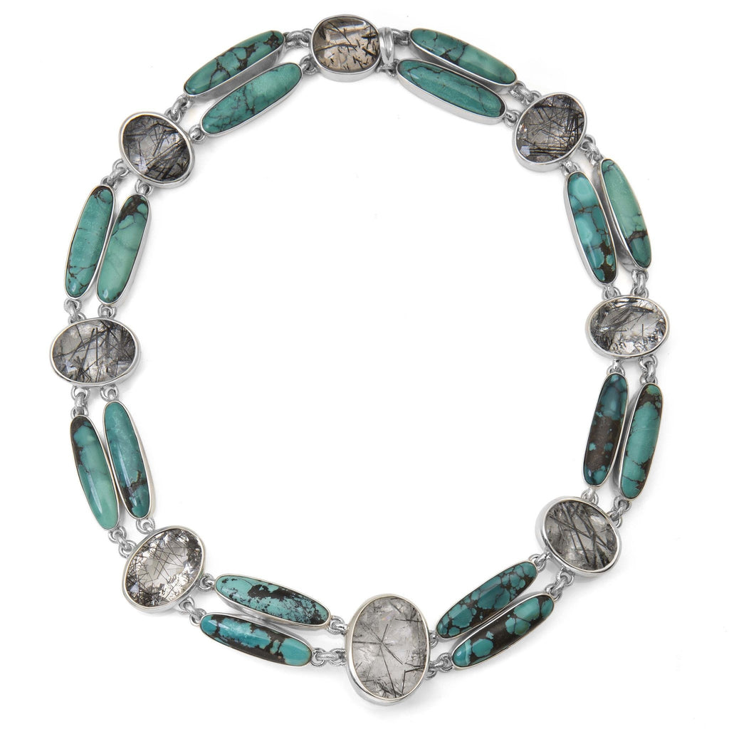 OAK-36193: Black Hair Rutilated Quartz and Turquoise Link Necklace