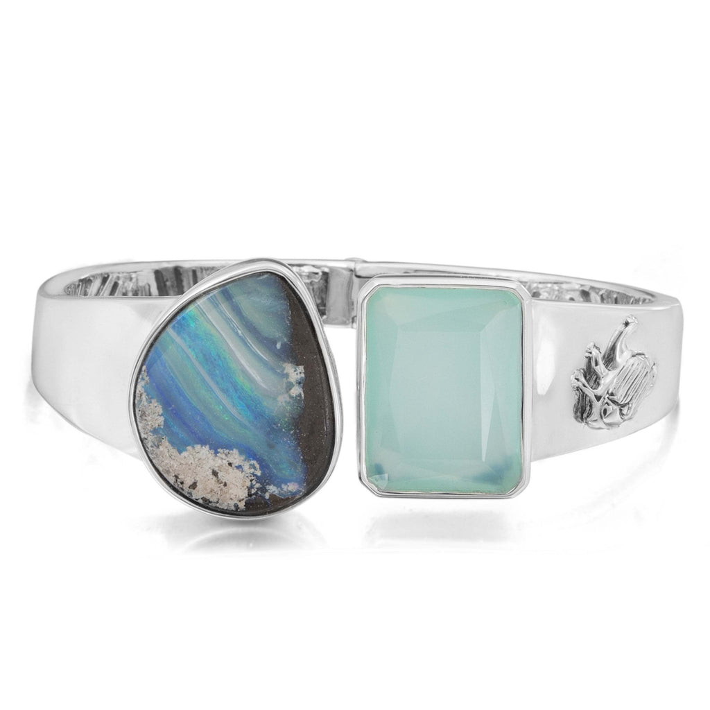 OAK-36200: Boulder Opal and Aqua Chalcedony Bangle