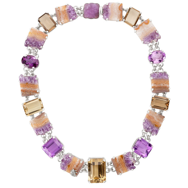 OAK-36200: Amethyst, Geode Drusy, and Smoky Quartz Necklace