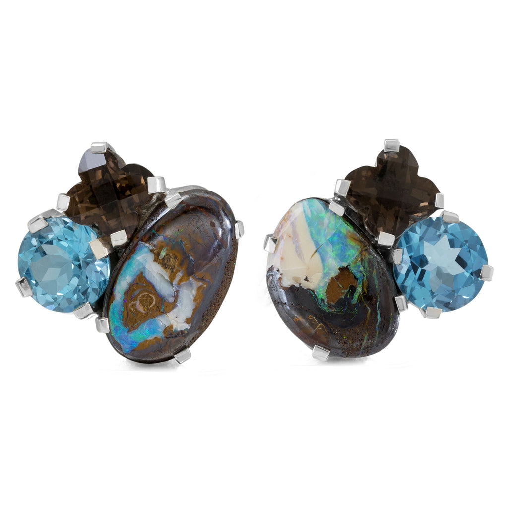 OAK-36246: Boulder Opal, Smoky Quartz and Blue Topaz Earrings