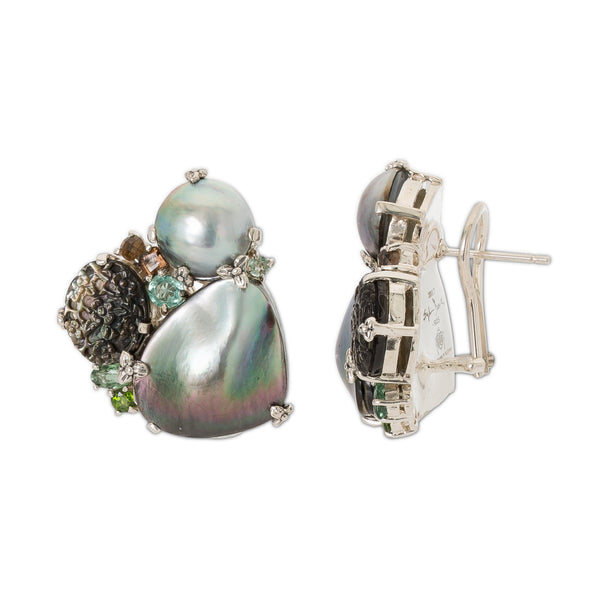 OAK-37058: Carved Silver Mother-of-Pearl, Green Tourmaline, Chrome Diopside, and Smoky Quartz Earrings
