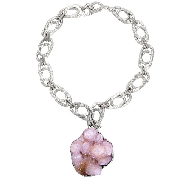 OAK-37089 Amethyst Geode Crystal Sterling Silver Necklace