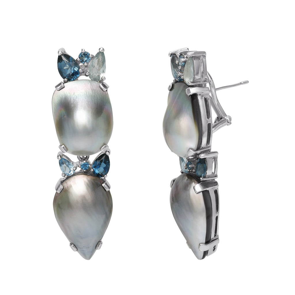 OAK-37122 Tahitian Mabe Pearl Earrings with London, Swiss, and Sky Blue Topaz Gemstones