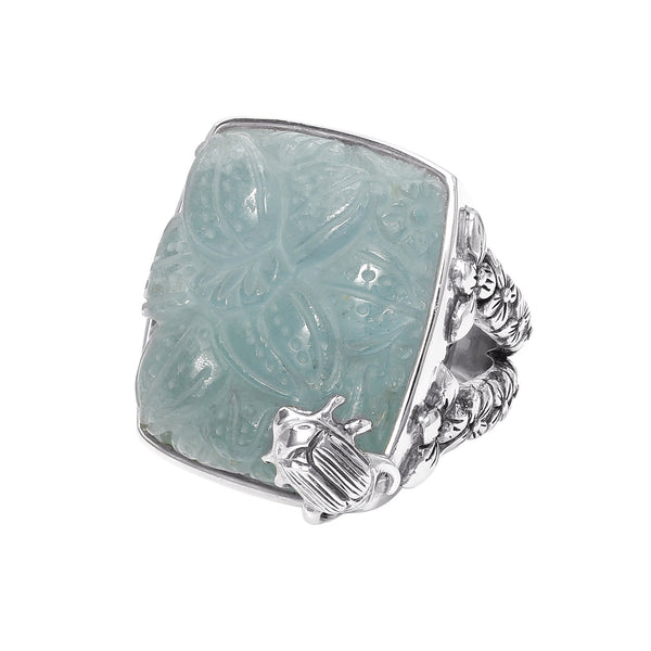OAK-40043 Sterling Silver Carved Aquamarine Cushion Ring
