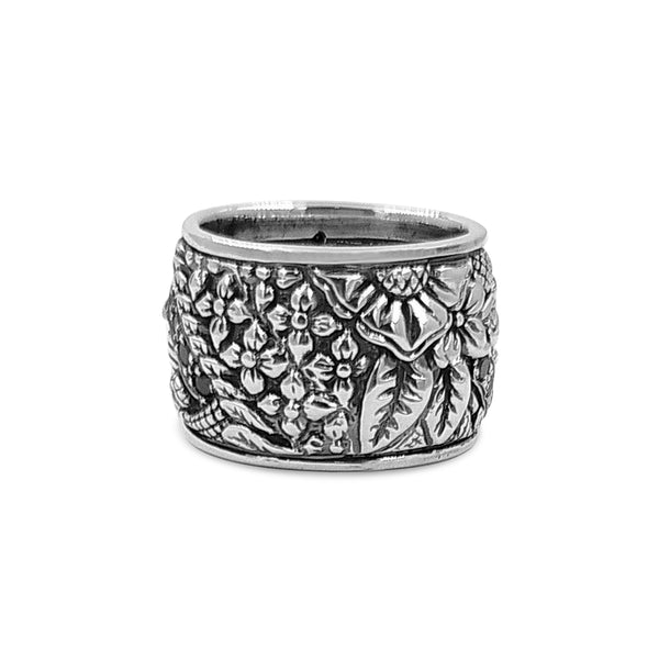 Black Diamond and Sterling Silver Engraved Ring