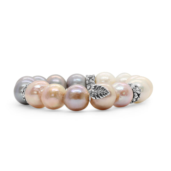 Multihued Natural Baroque Pearls with Sterling Silver Spacers Stretch Bracelet
