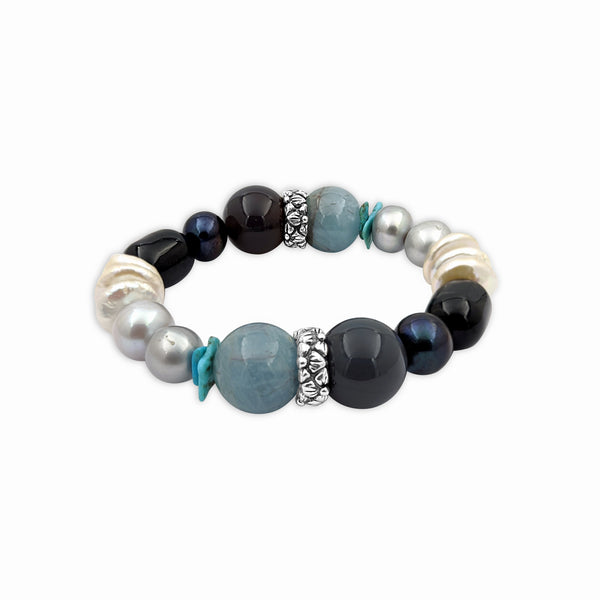 Aquamarine, Baroque Pearls, and Hand Carved Turquoise with Sterling Silver Accent Stretch Bracelet