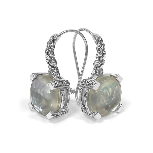 12mm Crystal Quartz, Mother of Pearl, Grey Agate Hook Earrings in Engraved Sterling Silver