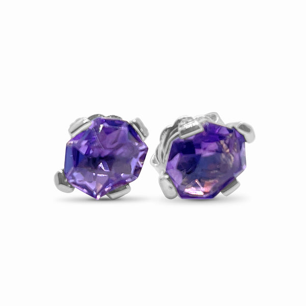 Pink Amethyst & Sterling Silver Stud Earrings