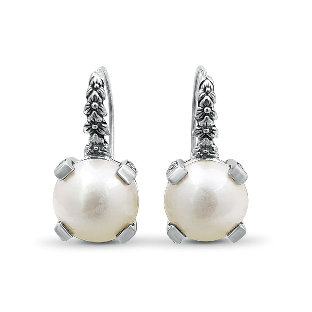 12mm Round White Pearl Hook Earrings in Engraved Sterling Silver