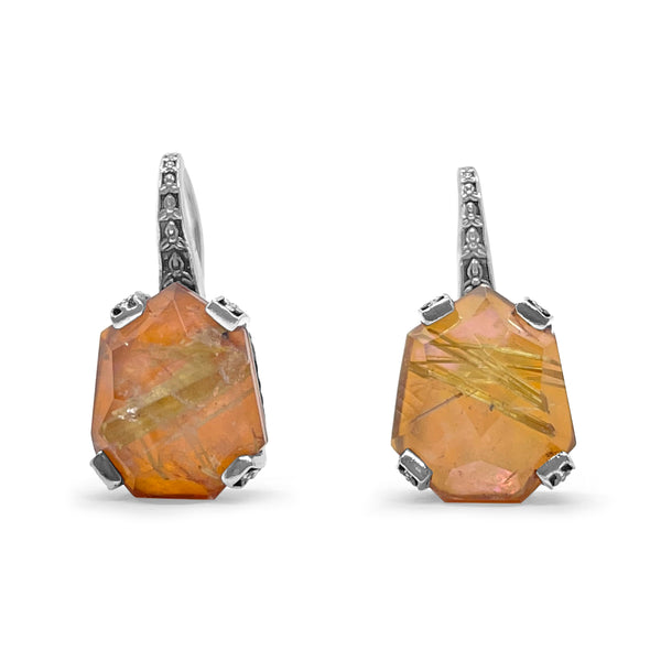 Galactical Hook Earring in Gold Rutilated Quartz with Engraved Sterling Silver