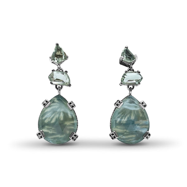 Galactical Green Amethyst and Serpantine with Mother of Pearl Drop Earrings in Sterling Silver