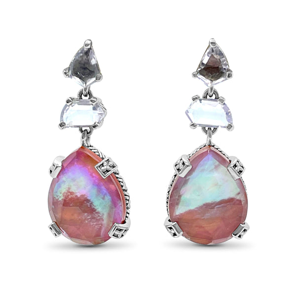 Lavender, Moon Quart, Rock Crystal, Mother of Pearl, and Red Agate with Sterling Silver Accent Drop Earring
