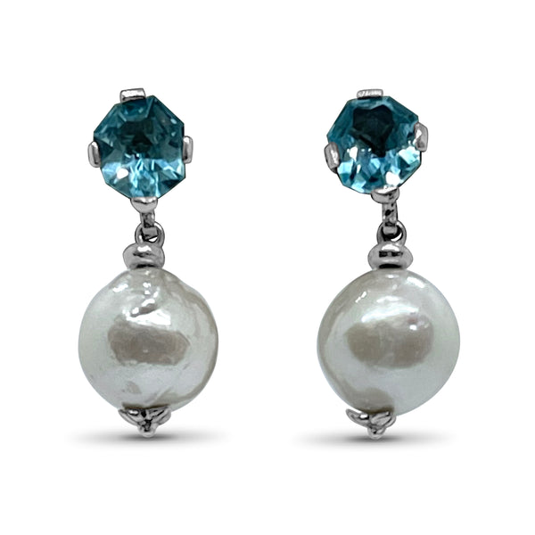 Stephen Dweck Freeform Blue Topaz & Silver Baroque Pearl Drop Earring