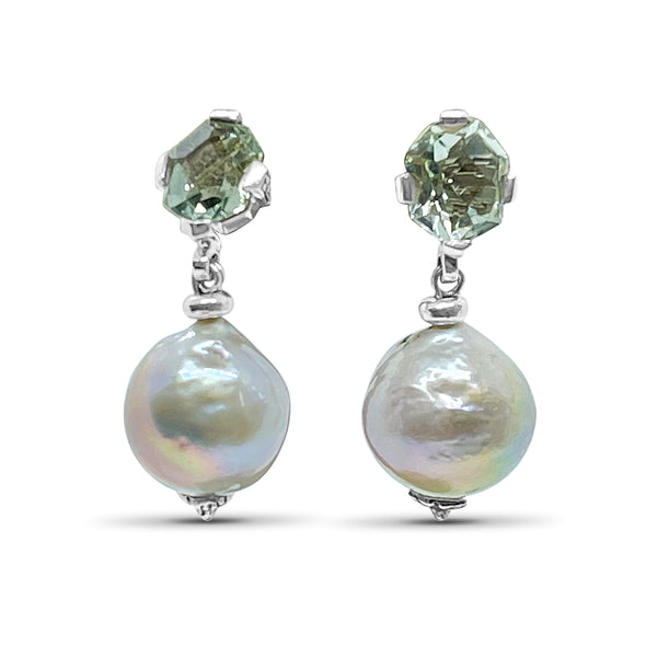 Stephen Dweck Freeform Green Amethyst & Silver Baroque Pearl Drop Earring