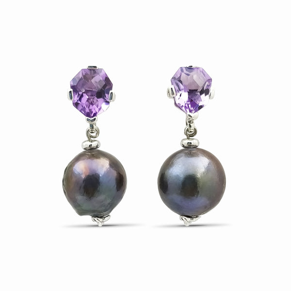 Amethyst &  Peacock Pearl in Sterling Silver Drop Earring