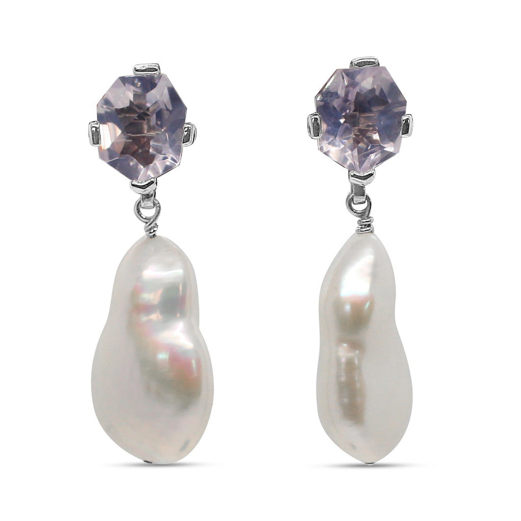 Lavender Moon Quartz and Natural Pearl Drop Earring in Sterling Silver