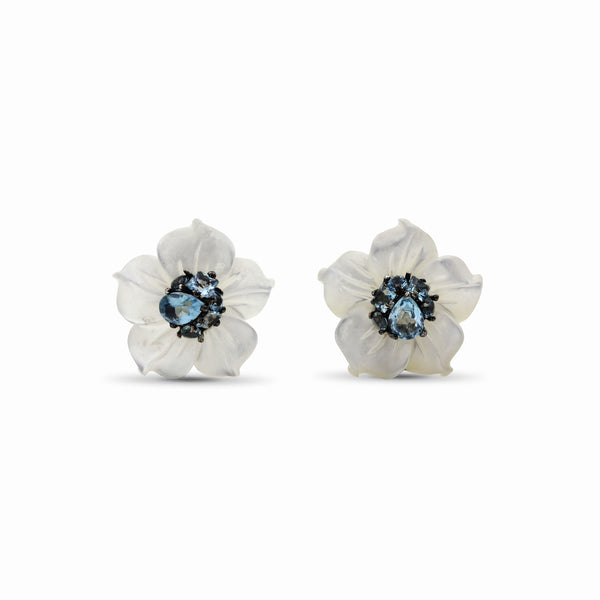 Hand Carved Small Mother of Pearl Carved Flower Set with Swiss Blue Topaz in Sculpted Sterling Silver Earrings