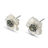 Hand Carved Small Mother of Pearl Carved Flower Set with Peridot in Sculpted Sterling Silver Earrings