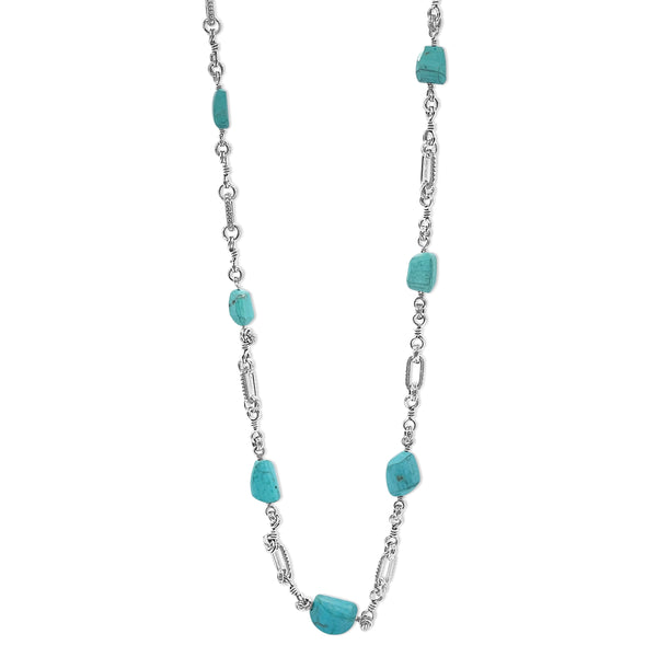 Turquoise & Engraved Sterling Silver Link Chain Necklace