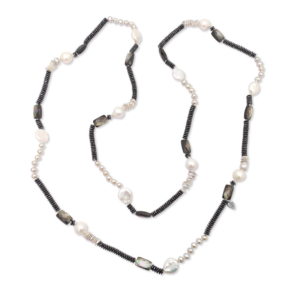 Hematite, Mother of Pearl, and White Pearl Necklace