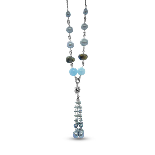 Peacock Pearl, Labradorite, Aquamarine Tassel Necklace with Sterling Silver Chain