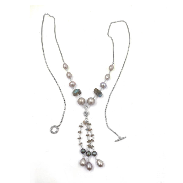 Silver Pearls, Blue Pearls,  and Labradorite Tassel Necklace with Sterling Silver Chain
