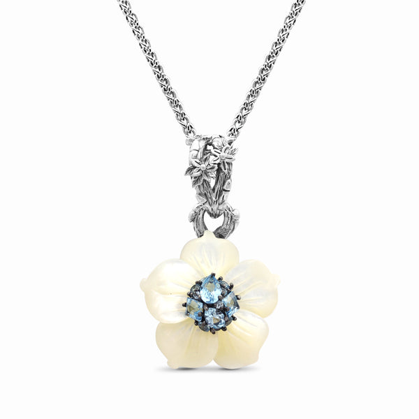 Medium White Mother-of-Pearl Flower Pendant with Swiss Blue Topaz