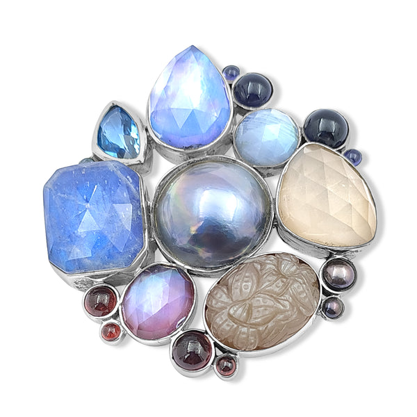 Rockrageous Blue Mabe, Labradorite, Lapis, Red Pearls, Garnet, Grey Moonstone Pin in Sterling Silver