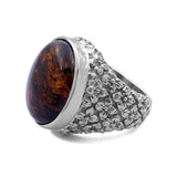 Oval Medium Amber Cabochon Ring with Engraved Sterling Silver