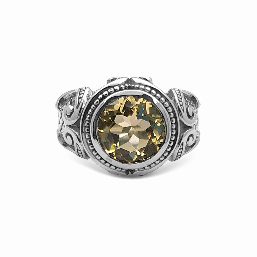12mm Round Yellow Quartz Gemstone Ring in Sterling Silver