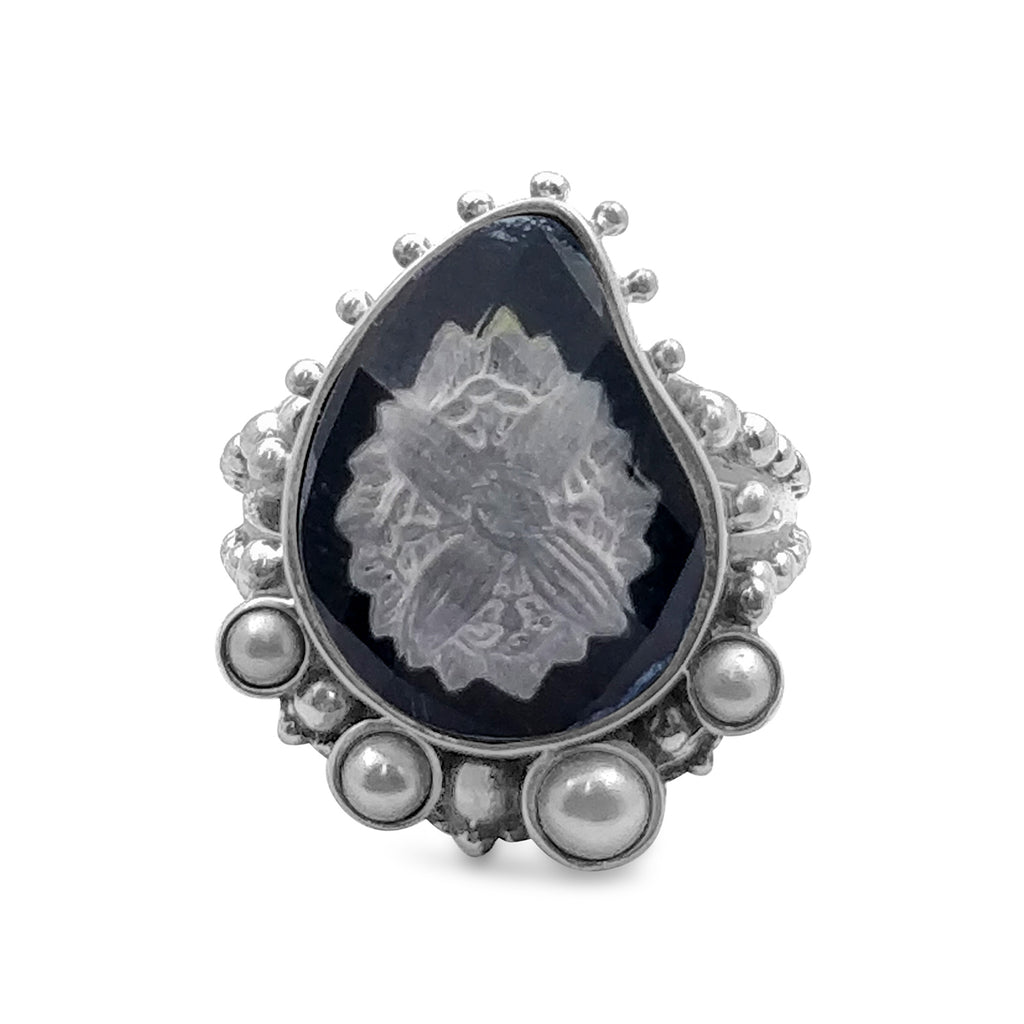 Black Agate, Rock Crystal, White Pearl Carved Ring in Sterling Silver