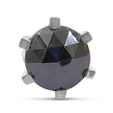 20mm Round Faceted Hematite Gemstone Ring in Sterling Silver