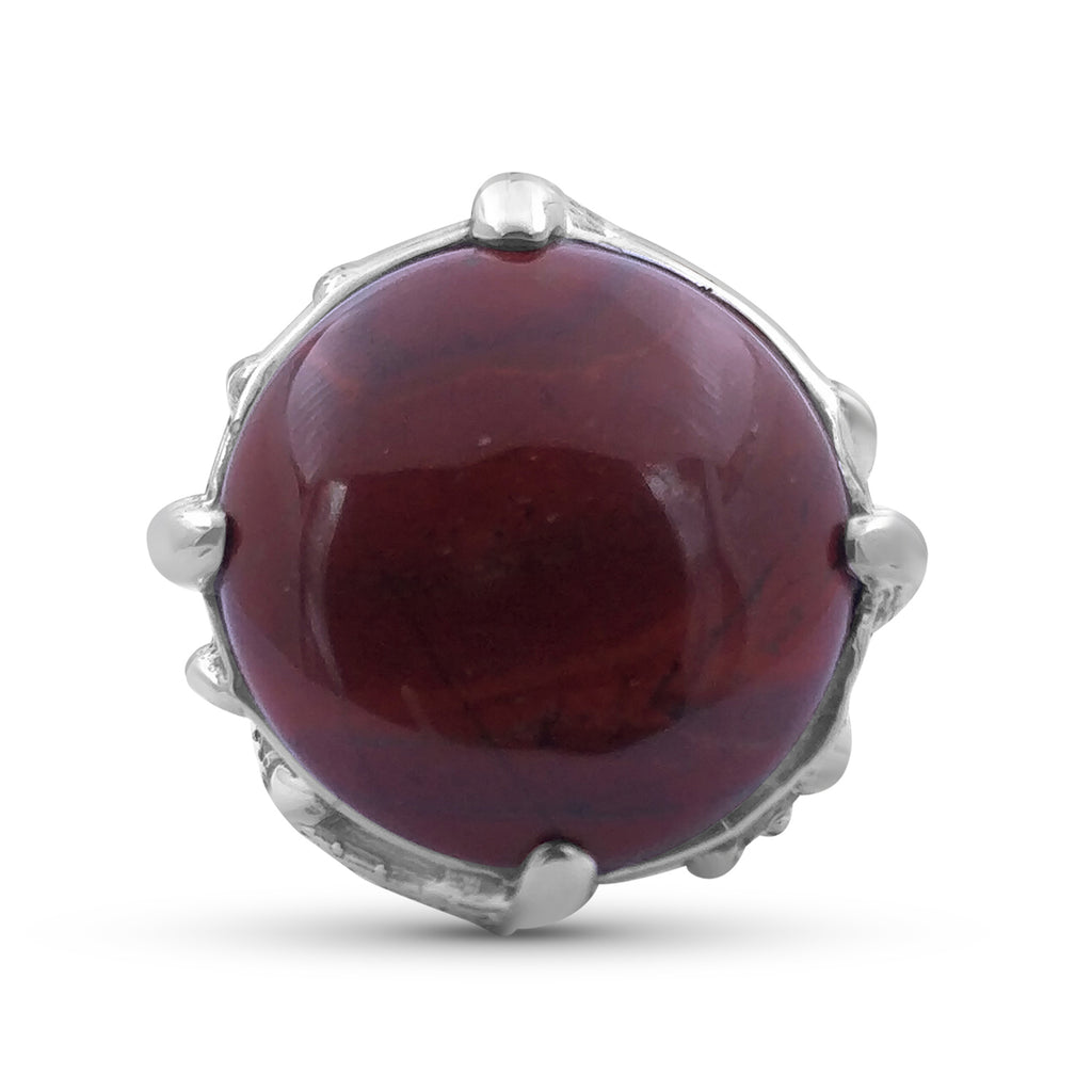 25mm Round Smooth Cabachon Red Jasper Ring in Sterling Silver