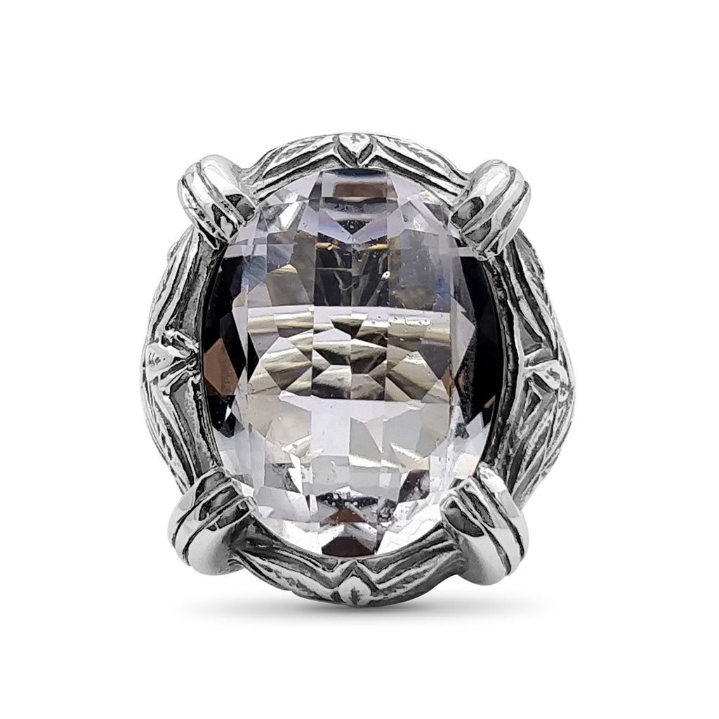 Natural Quartz Gemstone Ring with Engraved Sterling Silver