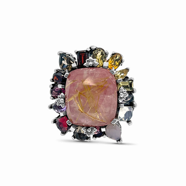 Rockrageous Gold Rutilated Quartz, Mother of Pearl, Rhodonite, Citrine, Tourmaline, and Cognac Quartz Cluster Ring