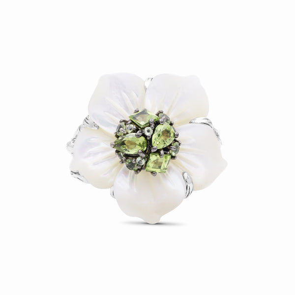 Hand Carved Large Mother of Pearl Carved Flower set with Peridot in Sculped Silver Ring