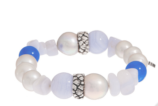 Silver Baroque Pearl, Blue Lace Agate and Blue Chalcedony Bracelet
