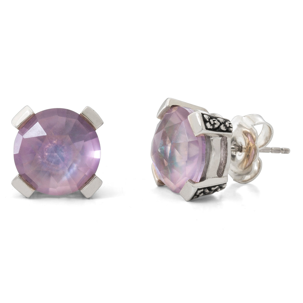 Pink Amethyst and Crystal Quartz Stud Earring, 8 mm - Stephen Dweck Jewelry